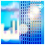 dawn and skyscraper - stock illustration