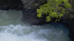 Close-up of Lake McDonald rapids in Glacier National Park Stock Footage
