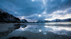 Arctic coast ocean with waves and the sea in Norway timelapse Stock Footage