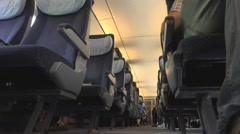 Interior Intercity express train people commute travel daytime transport railway Stock Footage