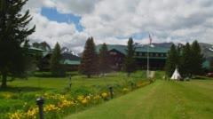 Garden in front of East Glacier Lodge in Glacier National Park Stock Footage