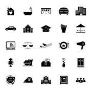 hospitality business icons on white background - stock illustration