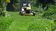 Man mowing lawn, that classic summer sound of a 2-stroke gas mower 2nd pass Stock Footage