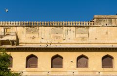 elevation view of amber fort in jaipur - stock photo
