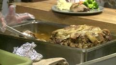 Food roast pork served, cafeteria Stock Footage