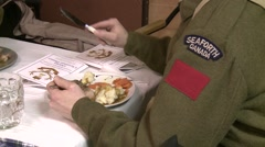 Concept, soldiers eating eating meal, WWI Seaforth uniform, #1 Stock Footage