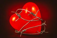 Heart in Barbed Wire Stock Photos