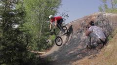 BMX Crash -Barspin into tree - Extreme Sports Stock Footage