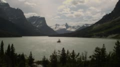 Stock Video Footage of View of Saint Mary Lake and mountains at dusk in Glacier National Park