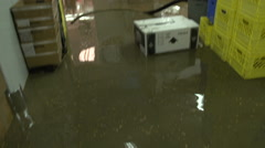 Disaster, flooded grocery store tilt up Stock Footage