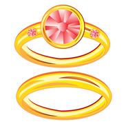 two gold rings - stock illustration