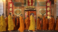 Monks chanting walking at chinese temple Stock Footage