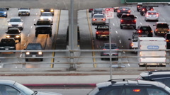 Stock Video Footage of Zoom Out /Time Lapse of Traffic on Busy Freeway in Downtown Los Angeles