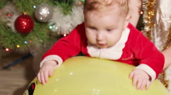 Child on massage ball Stock Footage