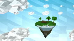 Low poly land with park and lake Stock Footage