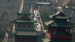 Great wall of China people walking Stock Footage