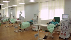 Medical center, dialysis and patients Stock Footage