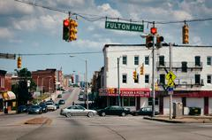 intersection of pennsylvania avenue and fulton avenue in baltimore, maryland. - stock photo