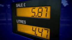 Time lapse zoom in on petrol pump display - stock footage