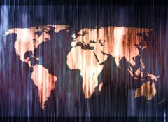 Stock Illustration of blue and orange smudged world map