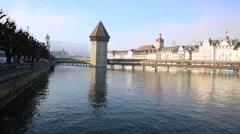 The famous Chapel Bridge in Lucerne, Switzerland. Stock Footage
