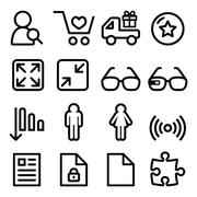 Web menu navigation line icons set - shopping, document Piirros