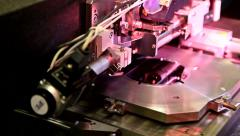 Microelectronic testing equipment in work in the laboratory Stock Footage