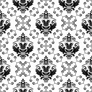 Stock Illustration of Wallpaper in the style of Baroquen. Abstract Vector Background. Black and White