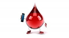Walking blood drop with a cellphone, front view Stock Footage