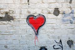 Red heart grafitti Stock Photos