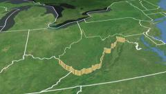 West Virginia state (USA) extruded. Satellite map. Stock Footage