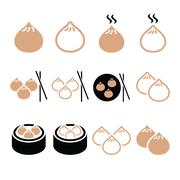 Chinese dumplings, Asian food Dim Sum vector icons set Stock Illustration
