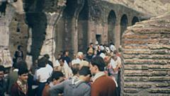 Rome 1970s: people inside the Colosseum - stock footage