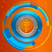 3D tech circle frame on a orange background. Vector illustration - stock illustration