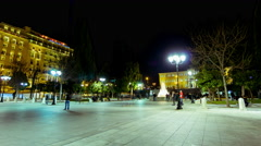4K night establishing shot movement on Constitution (Syntagma) square Athens Stock Footage