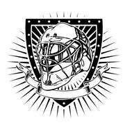 goalkeeper helmet shield - stock illustration