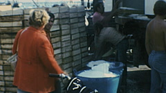 Italy 1970s: fisherman frozing fish at the port Stock Footage