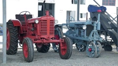 old tractor from Russia after restoration - stock footage