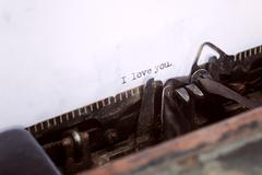 I love you message type on old typewriter Stock Photos