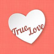 True Love. Vector illustration of 3d paper heart eps 10 - stock illustration