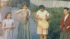 England 1955: teenagers making baskets Stock Footage