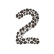Number 2 made of coffee beans vector set Stock Illustration