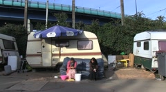 Romanian camp. Poverty in camping cars Stock Footage