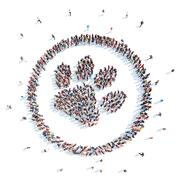 People in the form of a following animals. Stock Illustration