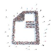 People in the form of a questionnaire. - stock illustration