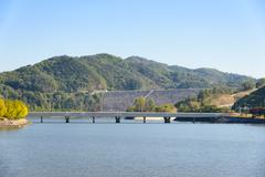 view of andong dam in korea - stock photo
