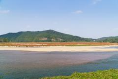 view of nakdong river from hahoe village - stock photo