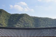tiled roof of korean traditional architecture - stock photo