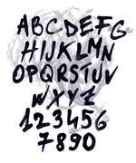 grunge vector alphabet - stock illustration