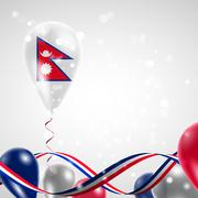 Flag of Nepal on balloon - stock illustration
